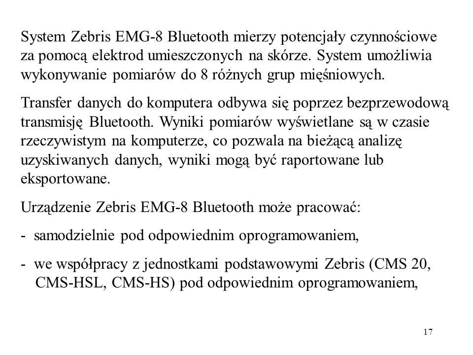 System Zebris EMG-8 Bluetooth mierzy potencjały czynnościowe za pomocą elektrod umieszczonych na skórze. System umożliwia wykonywanie pomiarów do 8 różnych grup mięśniowych.