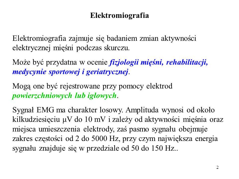 Elektromiografia Elektromiografia zajmuje się badaniem zmian aktywności elektrycznej mięśni podczas skurczu.