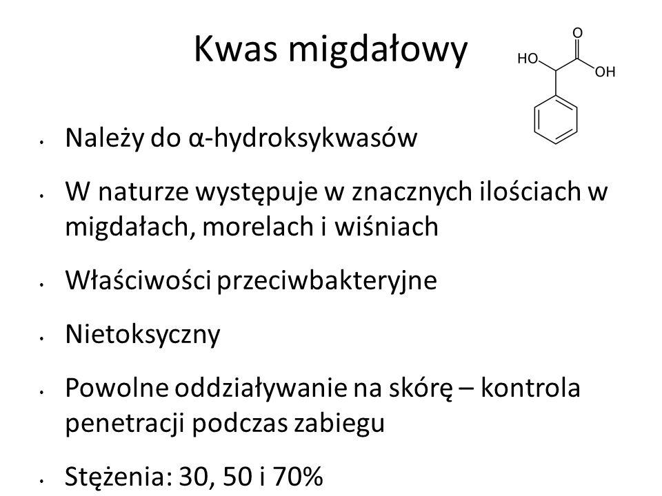 Kwas migdałowy Należy do α-hydroksykwasów