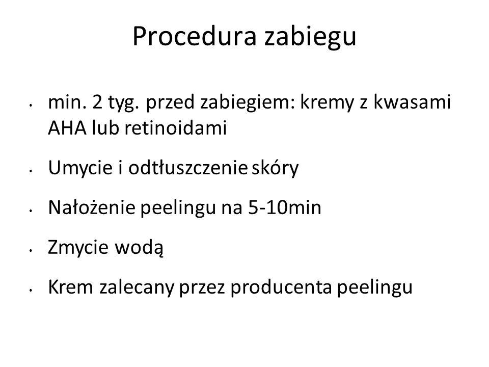 Procedura zabiegu min. 2 tyg. przed zabiegiem: kremy z kwasami AHA lub retinoidami. Umycie i odtłuszczenie skóry.