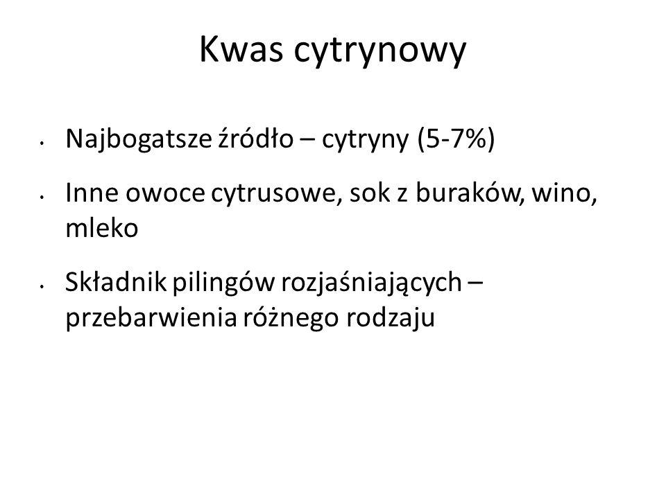 Kwas cytrynowy Najbogatsze źródło – cytryny (5-7%)