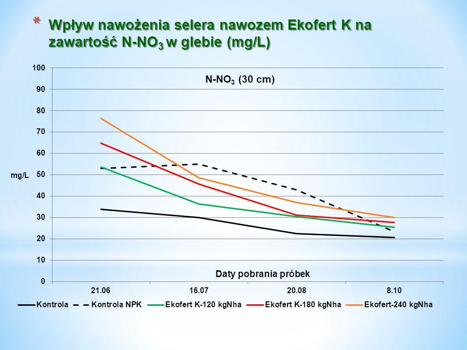 Wpływ nawożenia selera nawozem Ekofert K na zawartość N-NO3 w glebie (mg/L)
