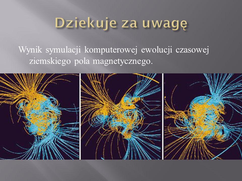 Dziekuje za uwagę Wynik symulacji komputerowej ewolucji czasowej ziemskiego pola magnetycznego.