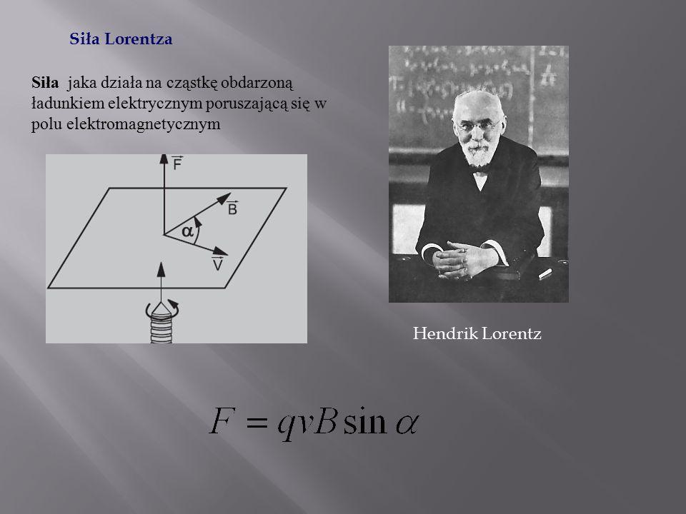 Siła Lorentza Siła jaka działa na cząstkę obdarzoną ładunkiem elektrycznym poruszającą się w polu elektromagnetycznym.