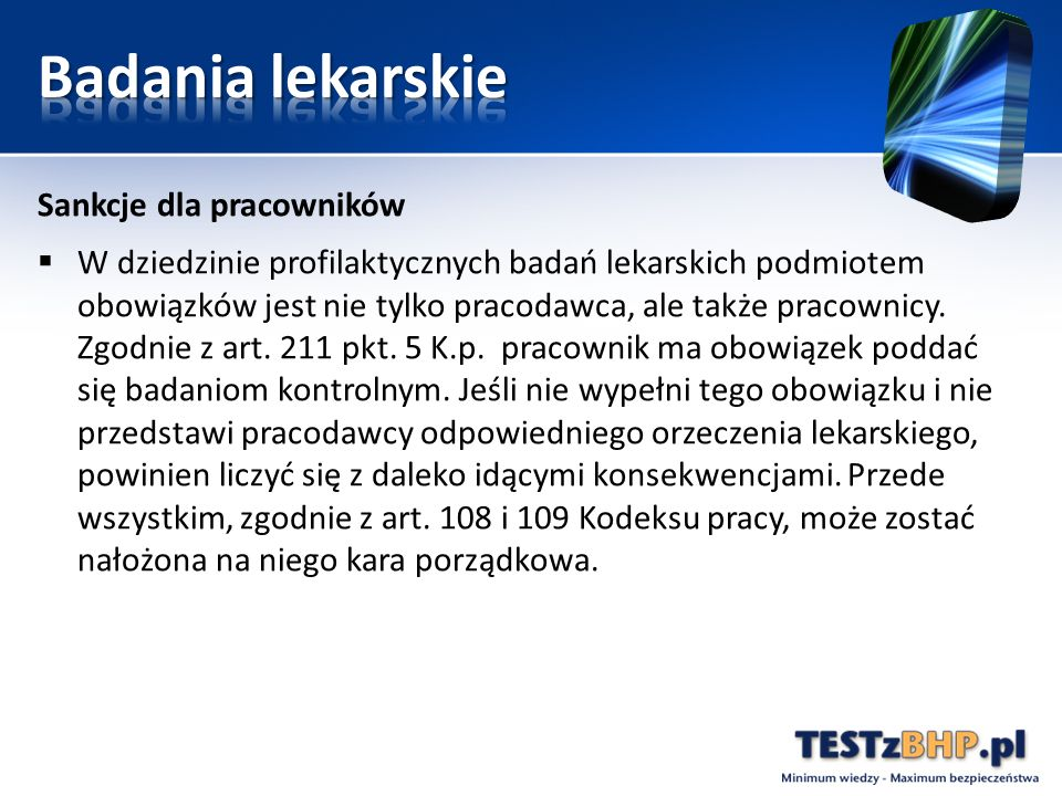Badania lekarskie Sankcje dla pracowników