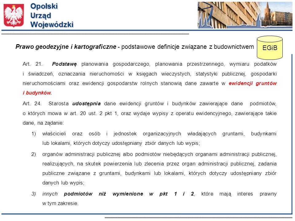 Prawo geodezyjne i kartograficzne - podstawowe definicje związane z budownictwem