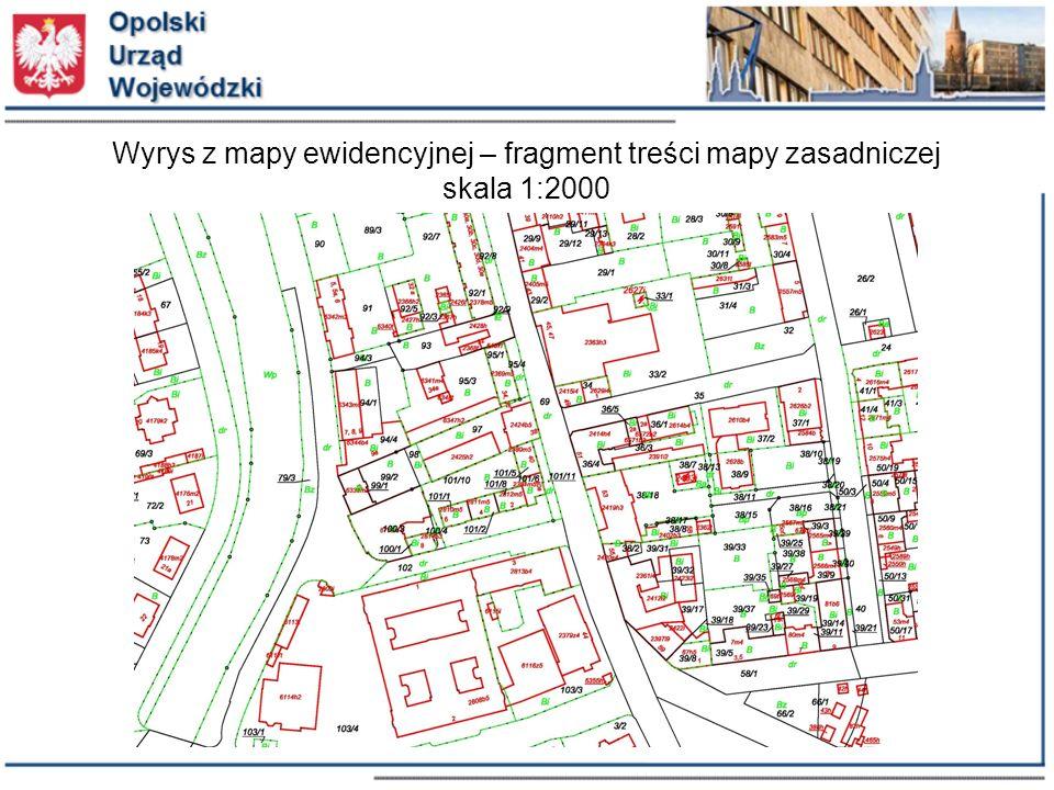 Wyrys z mapy ewidencyjnej – fragment treści mapy zasadniczej