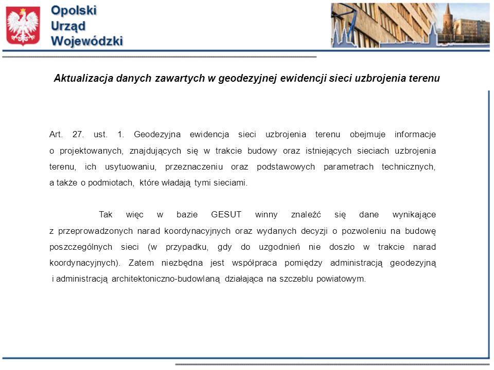 Aktualizacja danych zawartych w geodezyjnej ewidencji sieci uzbrojenia terenu