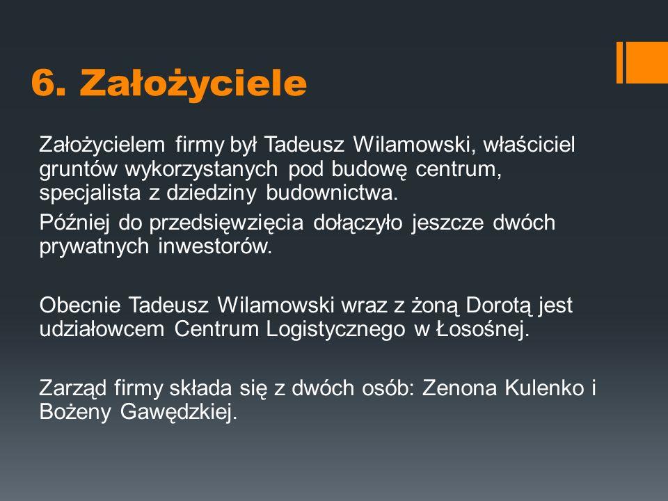 6. Założyciele Założycielem firmy był Tadeusz Wilamowski, właściciel gruntów wykorzystanych pod budowę centrum, specjalista z dziedziny budownictwa.