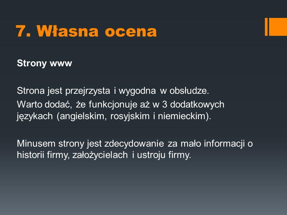 7. Własna ocena Strony www