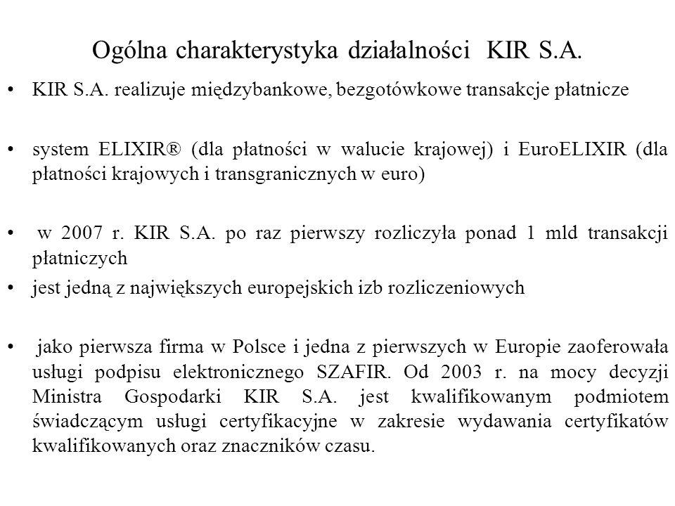 Ogólna charakterystyka działalności KIR S.A.
