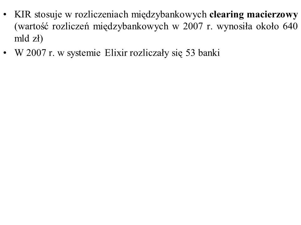 KIR stosuje w rozliczeniach międzybankowych clearing macierzowy (wartość rozliczeń międzybankowych w 2007 r. wynosiła około 640 mld zł)