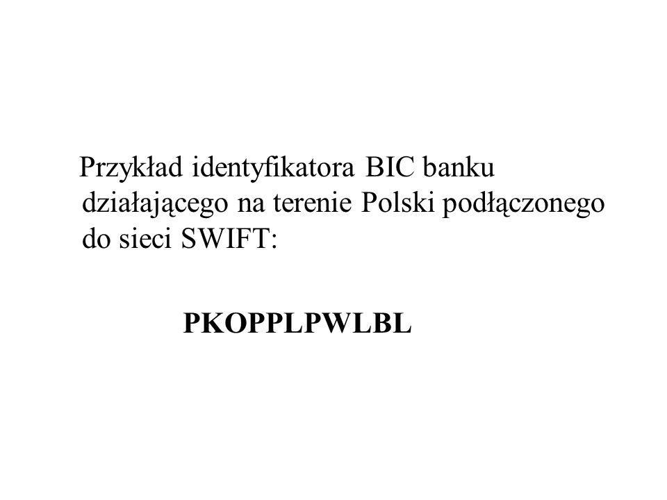 Przykład identyfikatora BIC banku działającego na terenie Polski podłączonego do sieci SWIFT: