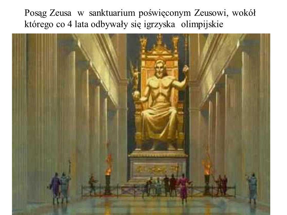 Posąg Zeusa w sanktuarium poświęconym Zeusowi, wokół którego co 4 lata odbywały się igrzyska olimpijskie