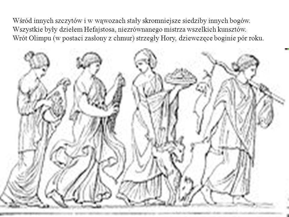 Wśród innych szczytów i w wąwozach stały skromniejsze siedziby innych bogów. Wszystkie były dziełem Hefajstosa, niezrównanego mistrza wszelkich kunsztów.