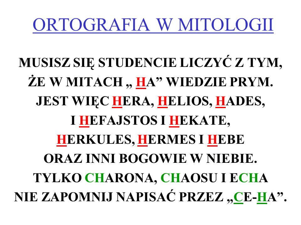ORTOGRAFIA W MITOLOGII