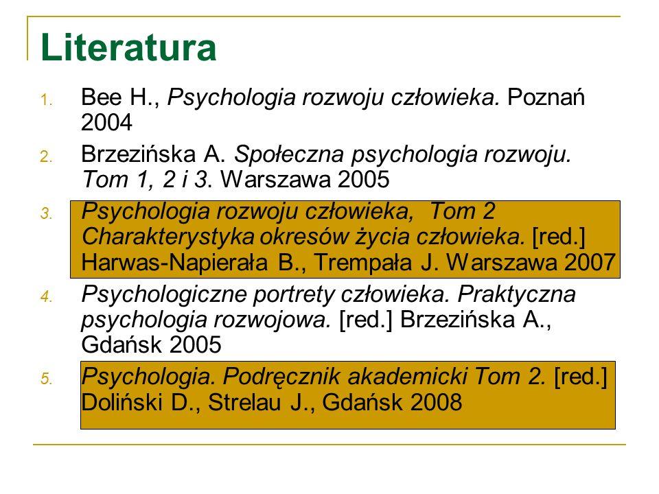 Literatura Bee H., Psychologia rozwoju człowieka. Poznań 2004