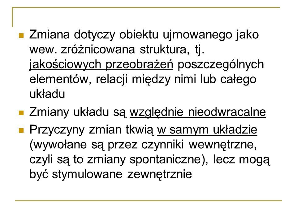 Zmiana dotyczy obiektu ujmowanego jako wew. zróżnicowana struktura, tj