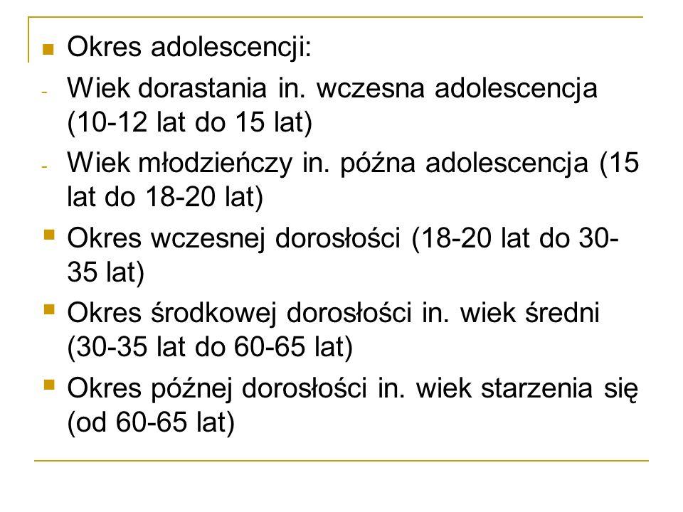Okres adolescencji: Wiek dorastania in. wczesna adolescencja (10-12 lat do 15 lat) Wiek młodzieńczy in. późna adolescencja (15 lat do 18-20 lat)