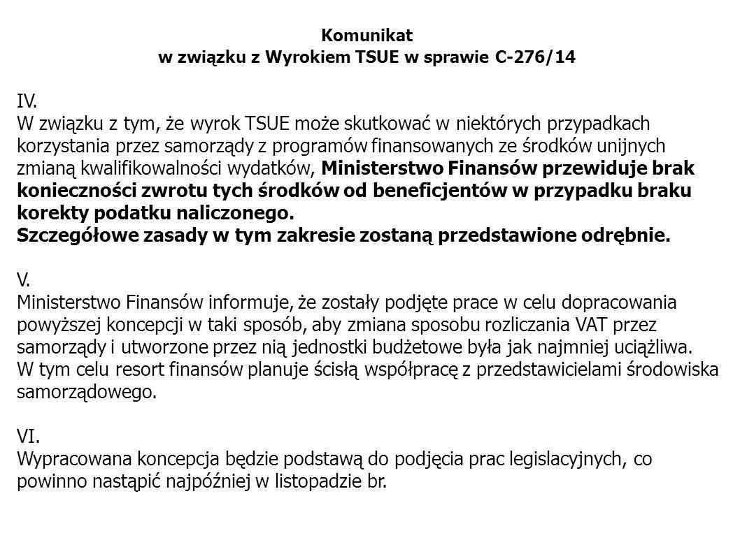 w związku z Wyrokiem TSUE w sprawie C-276/14