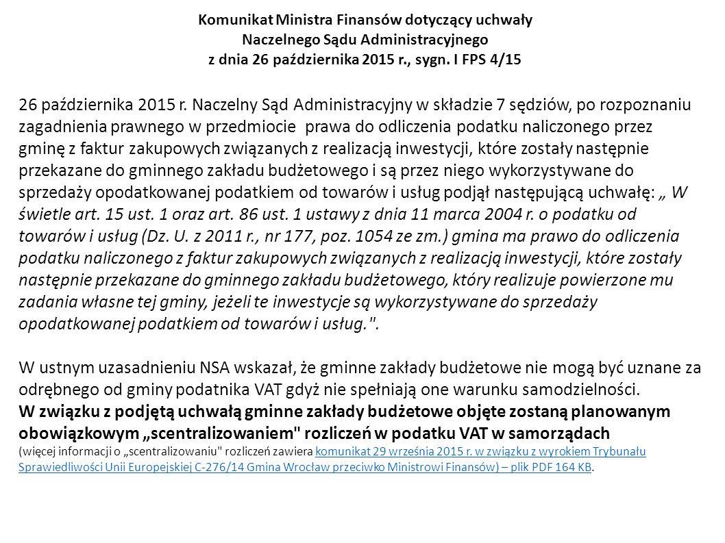 Komunikat Ministra Finansów dotyczący uchwały