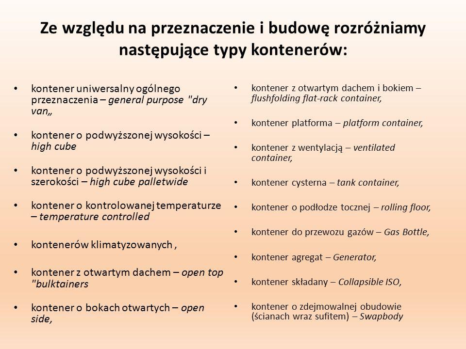 Ze względu na przeznaczenie i budowę rozróżniamy następujące typy kontenerów: