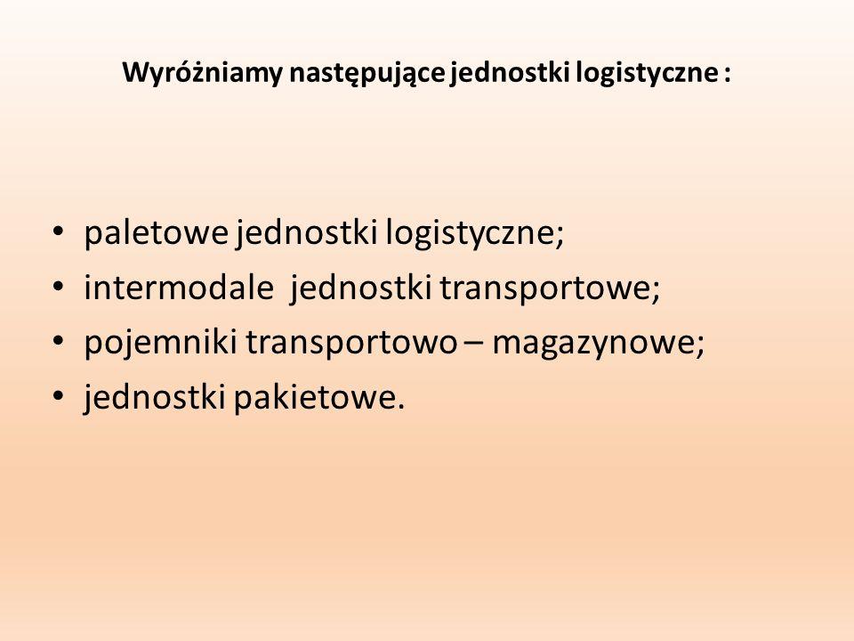 Wyróżniamy następujące jednostki logistyczne :