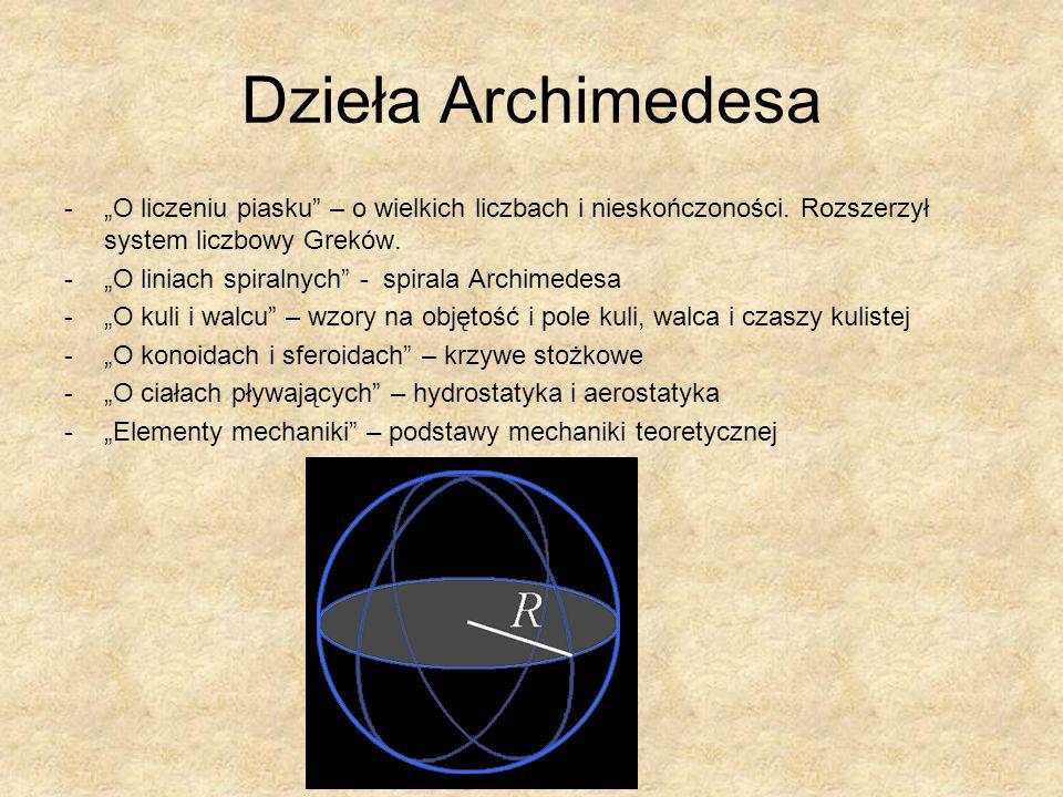 """Dzieła Archimedesa """"O liczeniu piasku – o wielkich liczbach i nieskończoności. Rozszerzył system liczbowy Greków."""