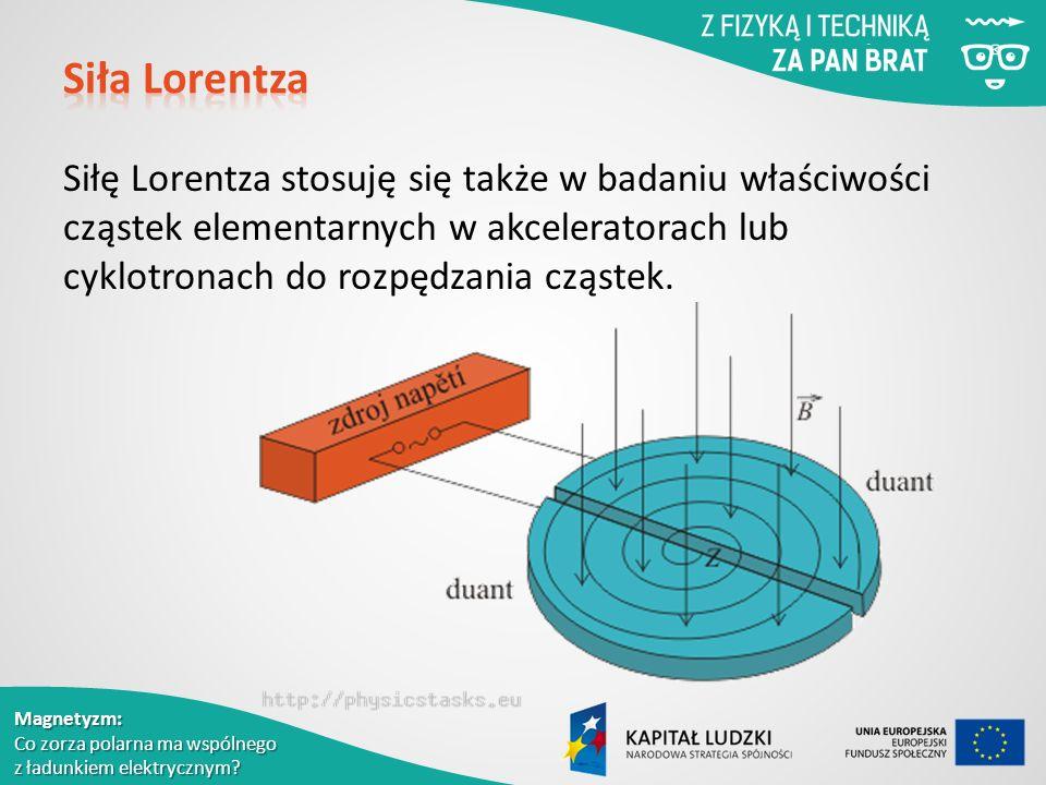 Siła Lorentza Siłę Lorentza stosuję się także w badaniu właściwości cząstek elementarnych w akceleratorach lub cyklotronach do rozpędzania cząstek.
