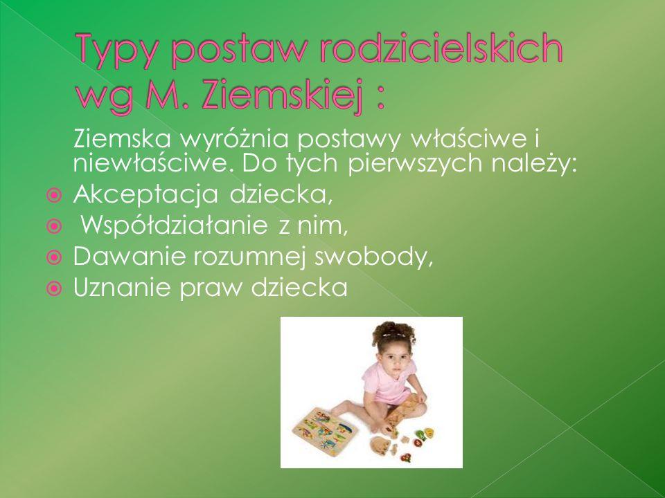 Typy postaw rodzicielskich wg M. Ziemskiej :