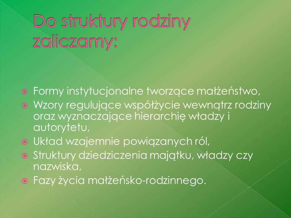 Do struktury rodziny zaliczamy: