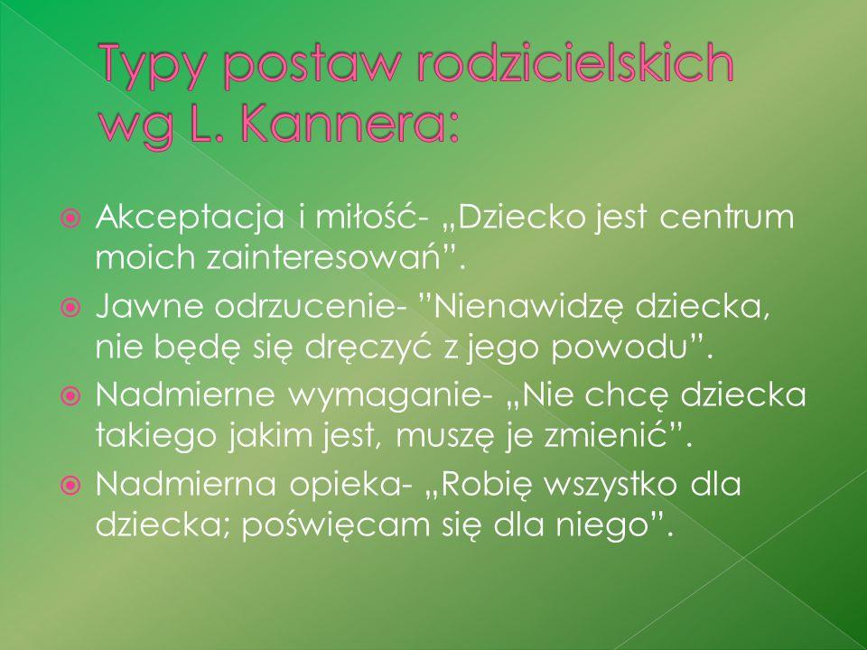 Typy postaw rodzicielskich wg L. Kannera: