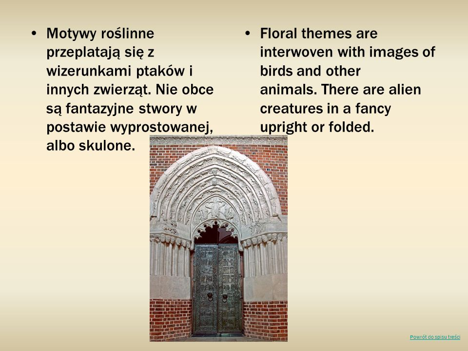 Motywy roślinne przeplatają się z wizerunkami ptaków i innych zwierząt