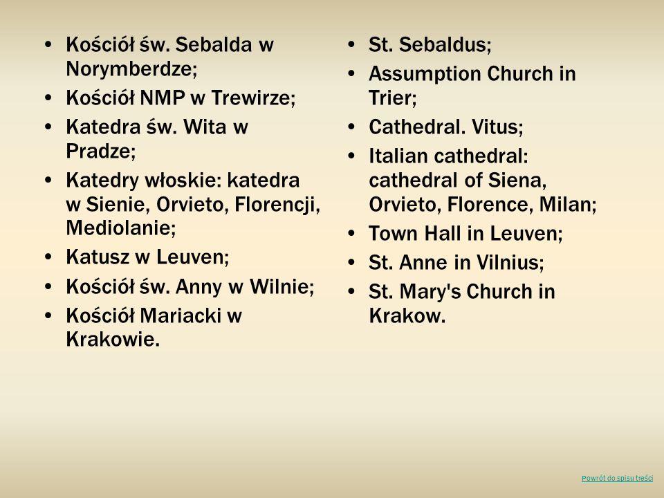 Kościół św. Sebalda w Norymberdze; Kościół NMP w Trewirze;