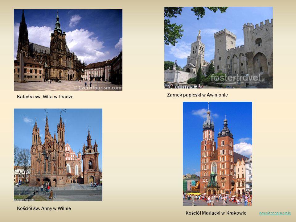 Zamek papieski w Awinionie Katedra św. Wita w Pradze