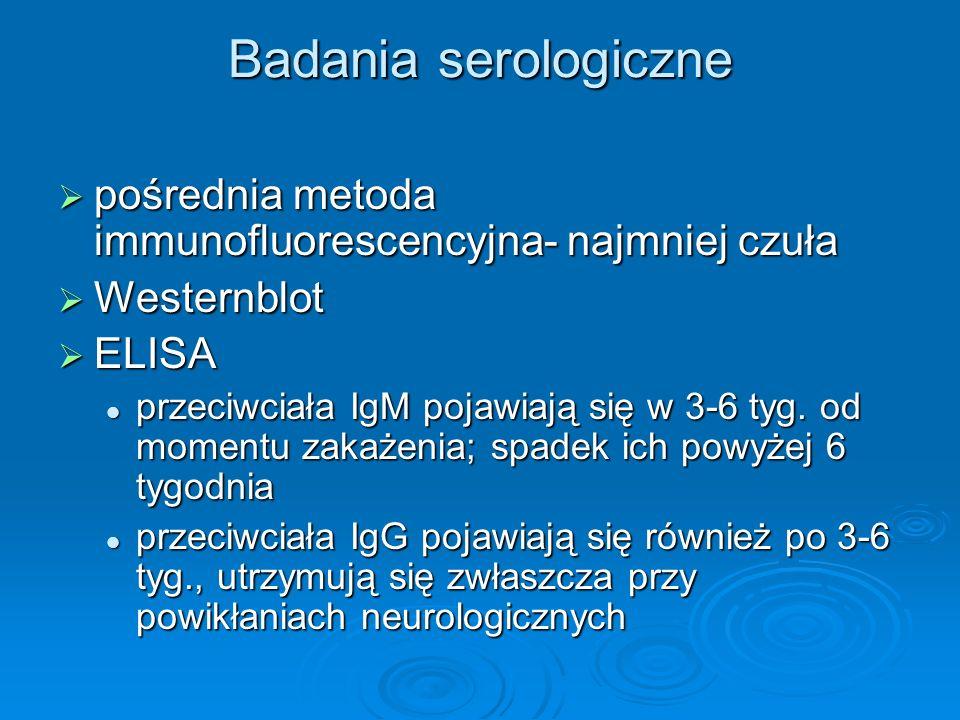 Badania serologiczne pośrednia metoda immunofluorescencyjna- najmniej czuła. Westernblot. ELISA.