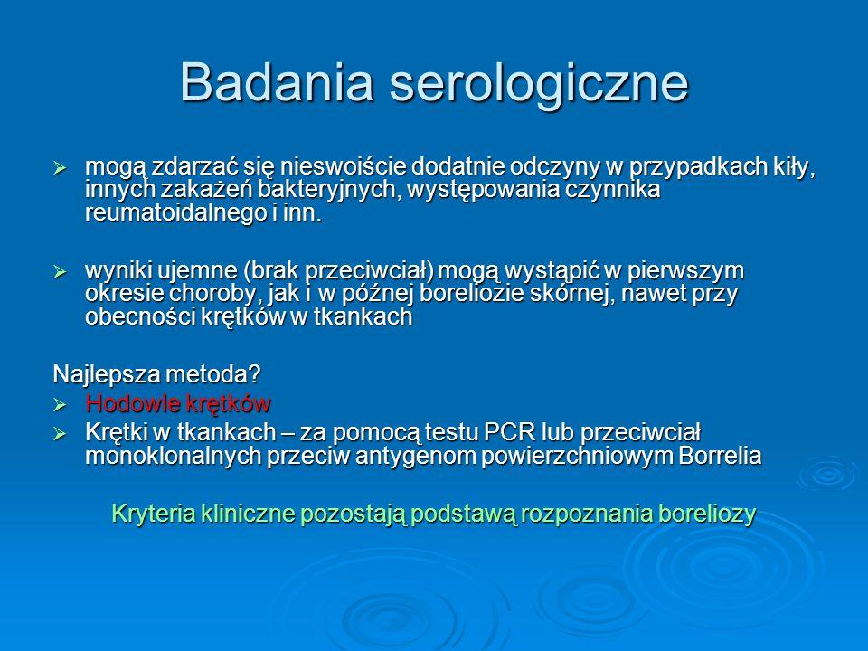 Kryteria kliniczne pozostają podstawą rozpoznania boreliozy
