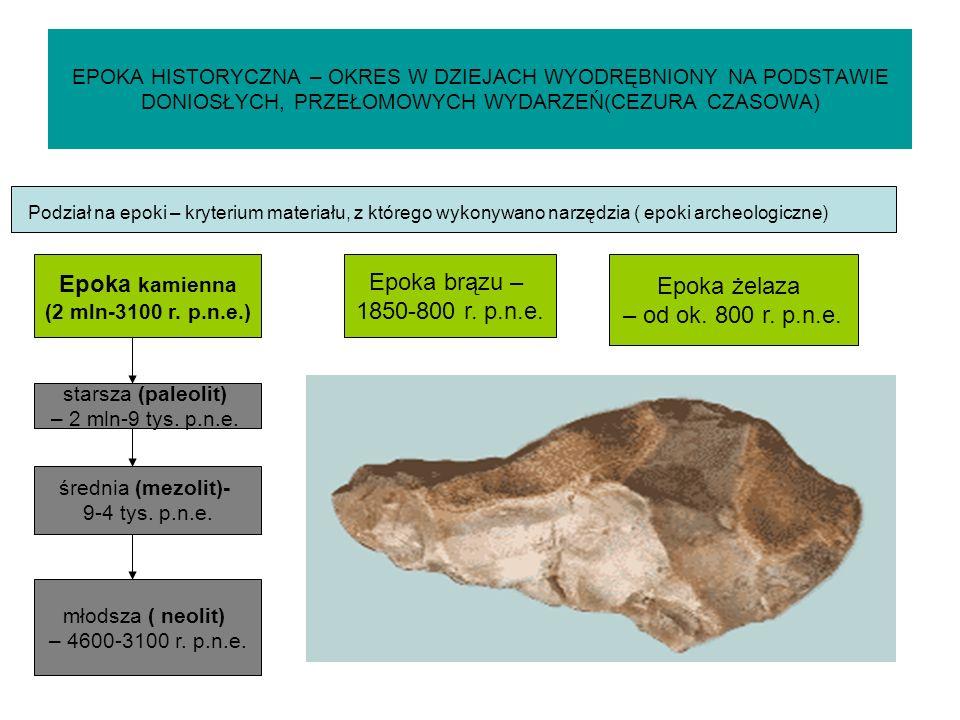 Epoka kamienna Epoka brązu – Epoka żelaza 1850-800 r. p.n.e.