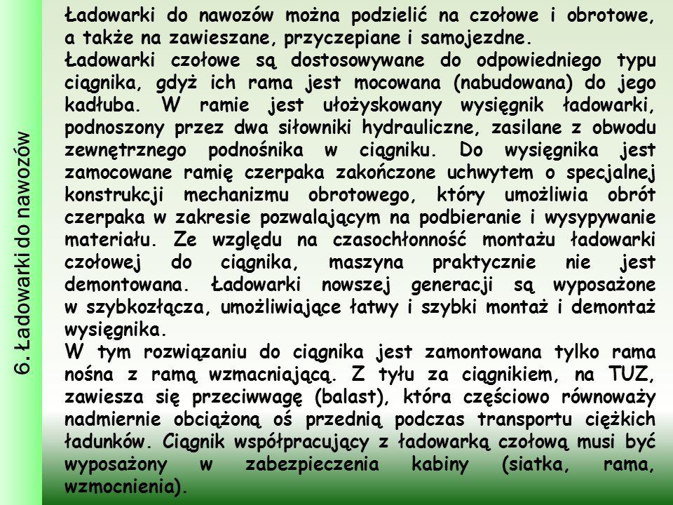 6. Ładowarki do nawozów Ładowarki do nawozów można podzielić na czołowe i obrotowe, a także na zawieszane, przyczepiane i samojezdne.