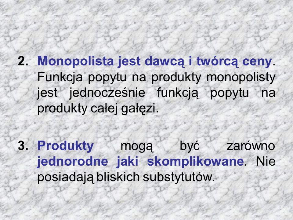 Monopolista jest dawcą i twórcą ceny