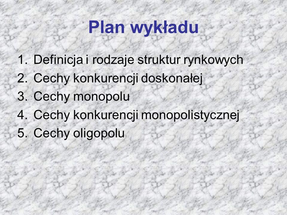 Plan wykładu Definicja i rodzaje struktur rynkowych