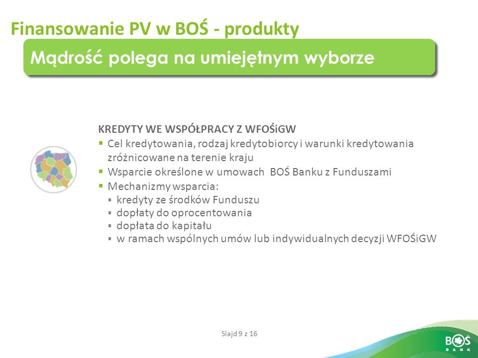 Finansowanie PV w BOŚ - produkty