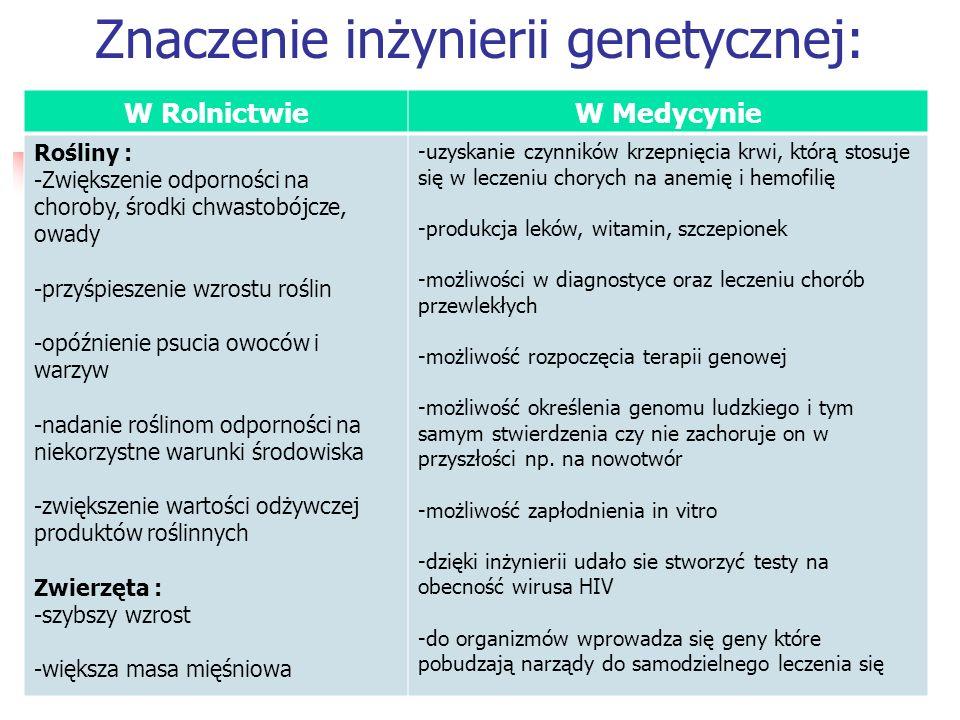 Znaczenie inżynierii genetycznej: