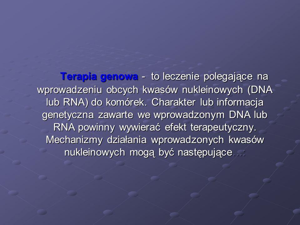 Terapia genowa - to leczenie polegające na wprowadzeniu obcych kwasów nukleinowych (DNA lub RNA) do komórek.