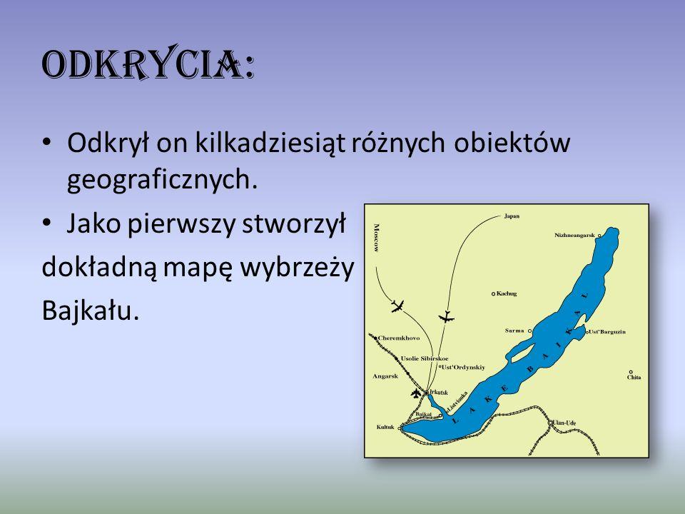 Odkrycia: Odkrył on kilkadziesiąt różnych obiektów geograficznych.