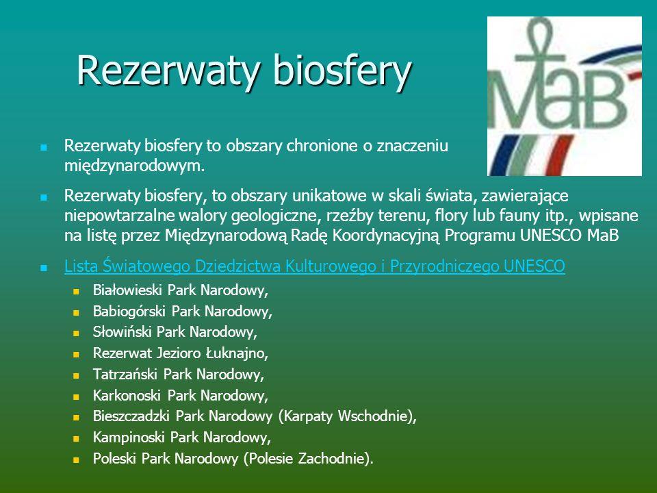 Rezerwaty biosfery Rezerwaty biosfery to obszary chronione o znaczeniu międzynarodowym.