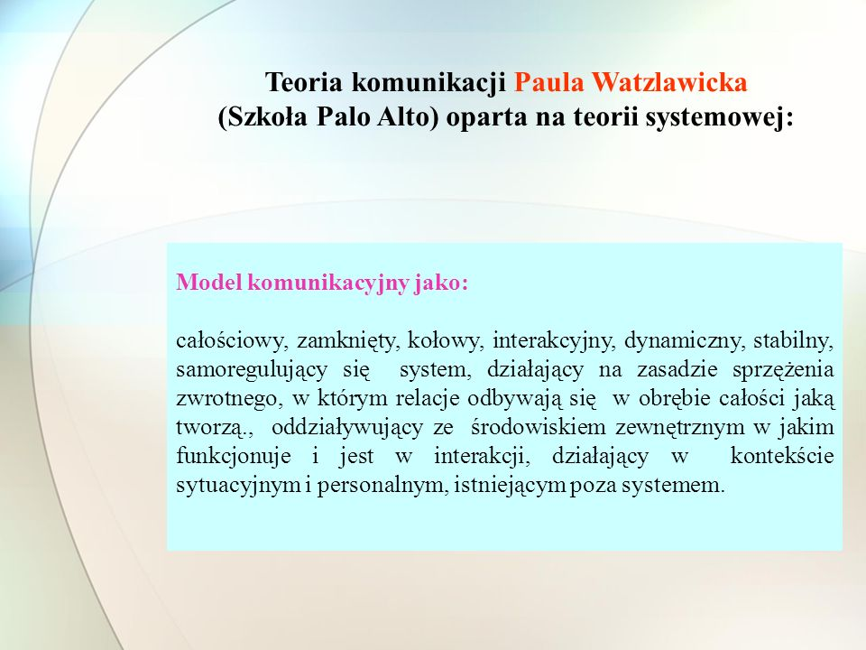 Teoria komunikacji Paula Watzlawicka