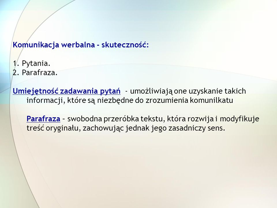 Komunikacja werbalna - skuteczność: