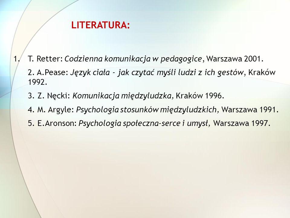 T. Retter: Codzienna komunikacja w pedagogice, Warszawa 2001.