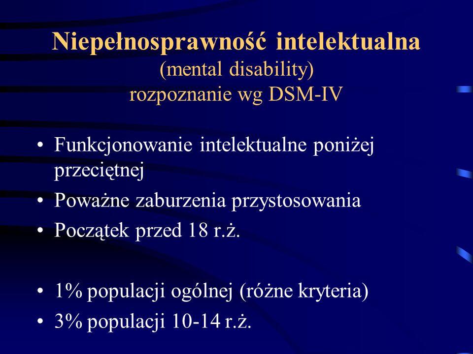 Niepełnosprawność intelektualna (mental disability) rozpoznanie wg DSM-IV